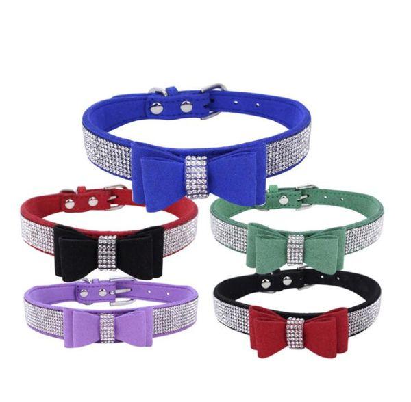 Luxus Haustier Zubehör Hundehalsband Strass Schnalle Design Fliege Hundehalsband für Kleine Mittelgroße Hunde