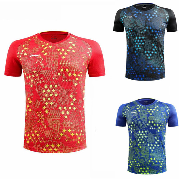 top popular 2018 New Li Ning Badminton Shirt , Men Women Badminton T-Shirts , LiNing Tennis Team Jersey,Quick dry SportWear Clothes Table Tennis Red 4XL 2020