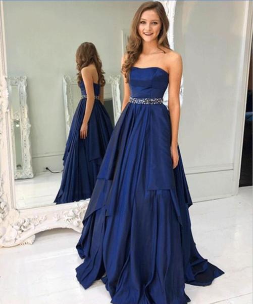 Compre Azul Marino Elegante Vestido Para La Noche Sin Tirantes Con Cuentas De Cintura Falda Fruncida Una Línea De Vestidos De Noche Niñas Largas
