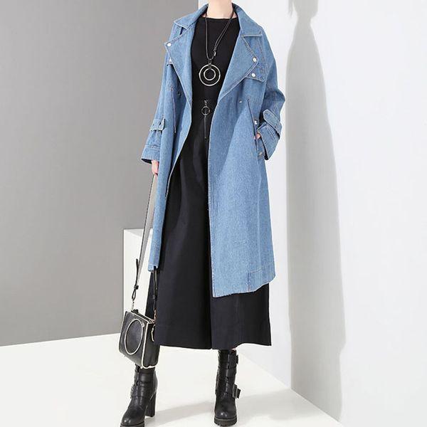 Womens Long Denim Chaquetas Streetwear 2019 Primavera Otoño Moda Casual para Mujer Jean Overcoat Turn Down Collar Mujer Cowboy Coat