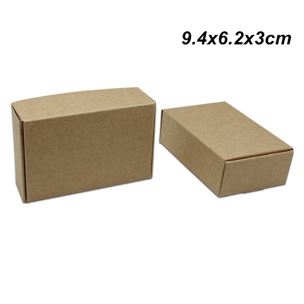 50Pcs/lot 9.4x6.2x3cm Brown Kraft Paper Gift Packing Box for Wedding Party Handmade Soap Paper Board Jewelry Chocolate Cookies Packing Boxes