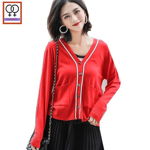 Fall Spring Cardigan Women Cute Sweet Girls Preppy Style Casual Coat Design V Neck Red Yellow White Knit Sweater Cardigans 111