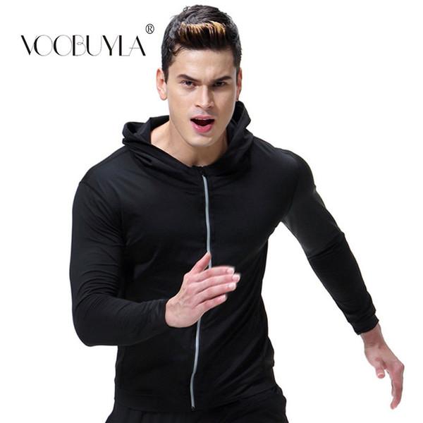 Voobuyla Sport Hommes Veste À Capuche À Manches Longues Manteau À Fermeture Éclair Streetwear Fitness Workout Plus La Taille Survêtement Cardigan Jacquard
