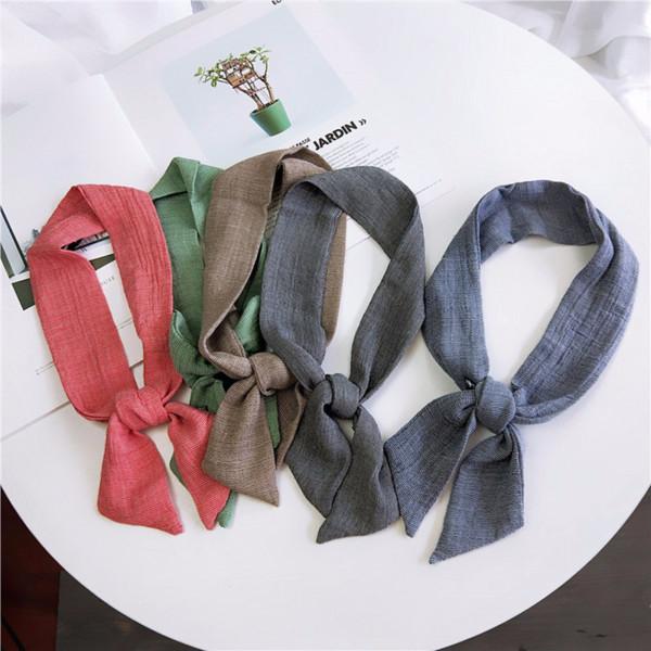 Fashion Plain Colors Hair Scarf Women Soft Cotton-linen Solid Neck Scarves 2018 NEW Lady Designer Skinny Scarfs 90cmX5cm