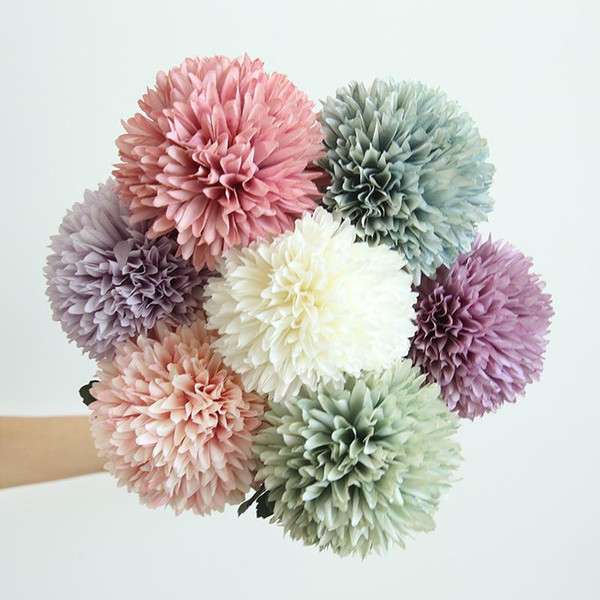 Tessuto artificiale Mum Flower Colorful Vivid Simulation Single Ball Dandelion Fiori di seta per la casa Decorazioni di nozze 3 15yr BB