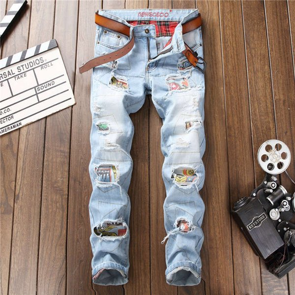 Mens Fashion Ripped Jeans Pants With Patches Distressed Destroyed Patchwork Denim Trousers Washed Club Wear blue zipper robin jeans for men