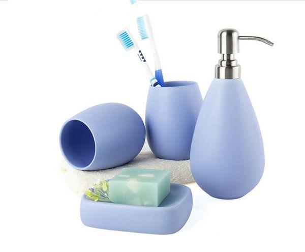4pc Ceramic Matte Solid Color Soap Dish Dispenser Shampoo Bottle Tumbler Bathroom Accessories Set 5clolors Available