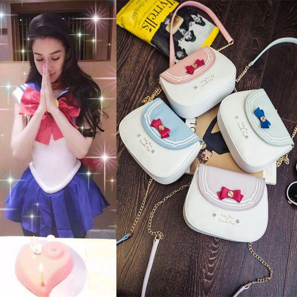 2017 New Hot Fashion Women Female Cute Cartoon Sailor Moon Soft Small Casual Chains Zipper Handbags Shoulder Bags Messenger Bag