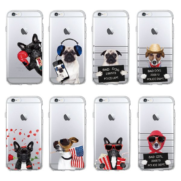 Cute Puppy Pug Cool French Bulldog Dog Soft Phone Case Coque Funda For iPhone 7 7Plus 5 5S 6S 6Plus 8 8Plus X SAMSUNG