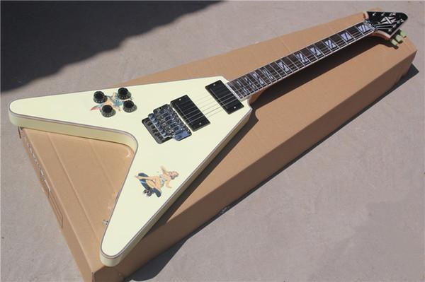 Rare Steve Jones Cream Flying V Electric Guitar Floyd Rose Tremolo, Active EMG Pickup, Sandwich Neck, Retro Girl Stickers, Split Block Inlay