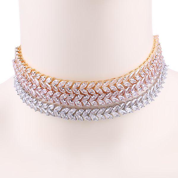 whole sale2017 New Arrival WEIMANJINGDIAN Brand Cubic Zirconia Leaf Shape Adjustable Zircon CZ Choker Necklaces for Women Jewelry