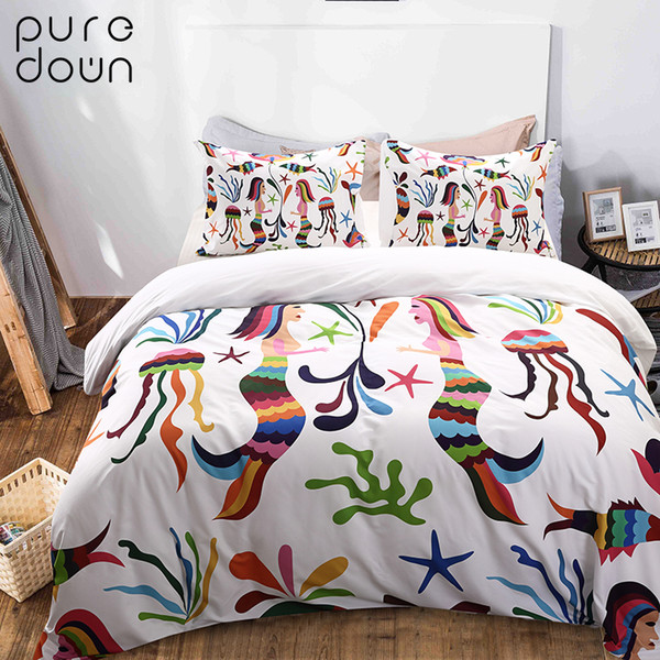 Puredown Home Quality Printed Pillow Case 3pcs/Set Egyptian Cotton Bedding Set Duvet Cover Pillowcase Bedding Set