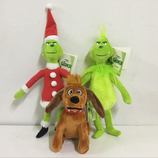 Hot Sale 3 Style How The Grinch Stole Christmas Plush Stuffed Doll Toy For Children Holiday Gifts 18-38cm Free Shipping