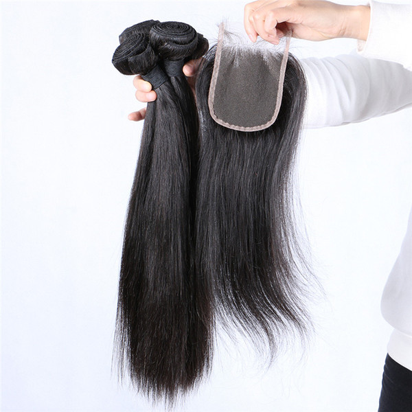 4*4 Straight Lace Top Closure With Human Hair Bundles Brazilian Virgin Hair Weaves Closure 5pcs Lot