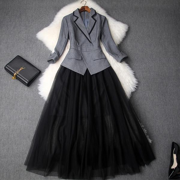 Trabalho do escritório lady dress runway 2018 nova qualidade superior outono mulheres elegantes club dress xl casual patchwork vestidos longos inverno