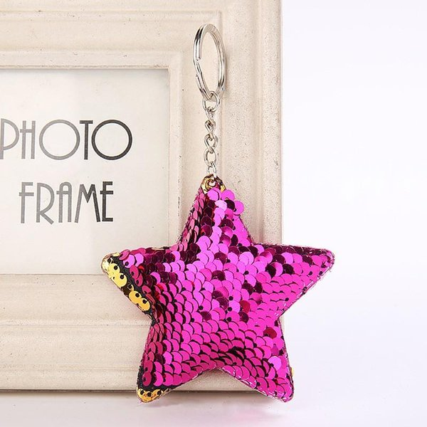 For Women Car Bag Charms Five Pointed Star Shaped Sequins Keychains Reflective Glossy Key Ring Creative 1 5wz dd