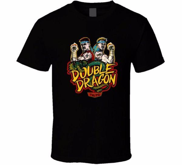 Movie T Shirts Kurzarm Männer Top Double Dragon T-Shirt Klassische Arcade-Videospiel Retro 1980 Kampfkunst Rundhalsausschnitt T-Shirt