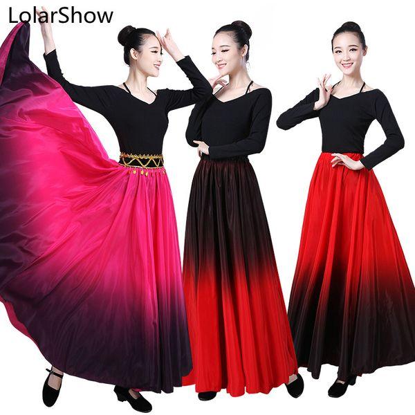 Flamenco Danza Gonna spagnolo Performance di danza Costume per donne vestido flamenco 180/360/540/720 Grado