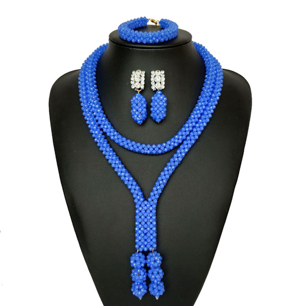 New Style India Blue Jewelry Sets for Women 2018 Bridal Gift Nigerian Wedding African Beads Jewelry Set Chunky Pendant Necklace