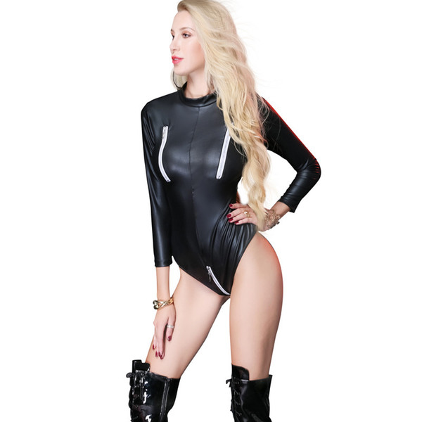 New Elegante Preto Faux Leather Bodysuit para As Mulheres Sexy Catsuit De Couro Aberto Virilha Lingerie Clube Leotards Plus Size para Senhora