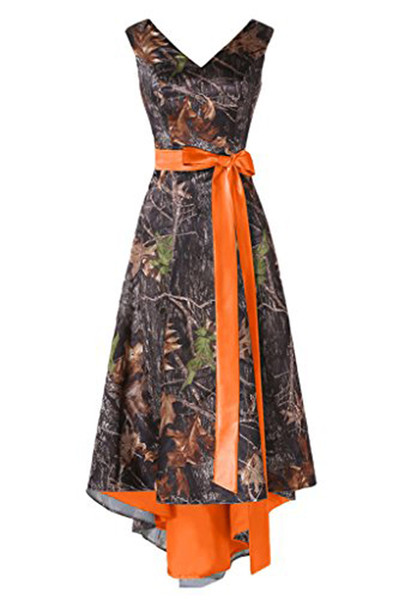 Asymmetrical Camo Prom Dress Wedding Party Bridesmaid Dress Hi-Lo Camouflage Homecoming Gown with Orange Sash Belt Custom Made