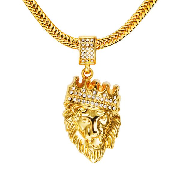 """KINGS LANDING"" Men'S 18k Real Gold Plated Crown Lion Head Pendant Necklace With Rhinestone And Flat Snake Chain 30"""