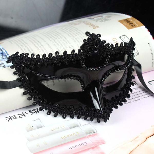 10 unids / lote Mujer Fiesta de Halloween Máscara Corona Reina Mitad de Cara Mascarada Niñas Máscaras Blanco Negro Para Baile Cosplay