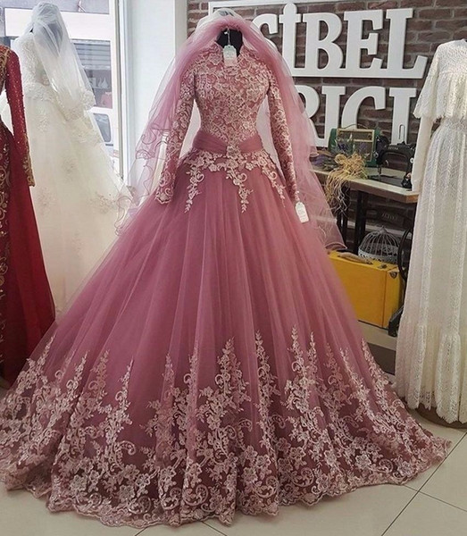 Saudi Arab Long Sleeves Muslim Wedding dresses Lace Appliques High Neck Bridal Gowns Plus Size vestido Custom Made