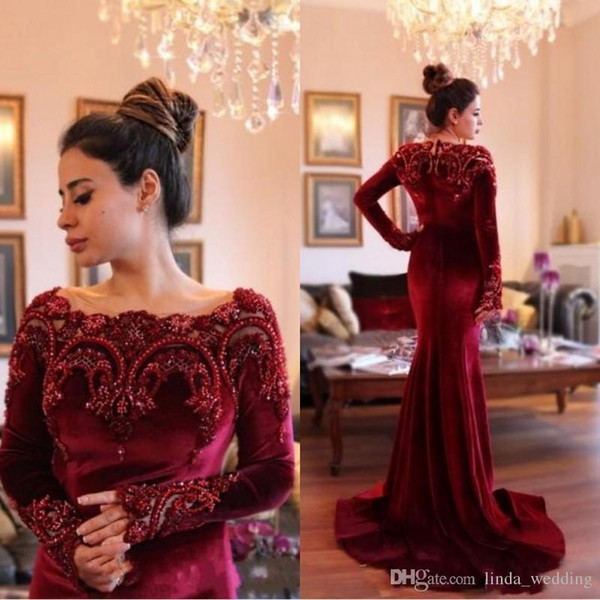 Arabic Dubai Burgundy Velvet Evening Dress with Beaded Collar Long Sleeves Formal Holiday Wear Prom Party Gown Custom Made Plus Size