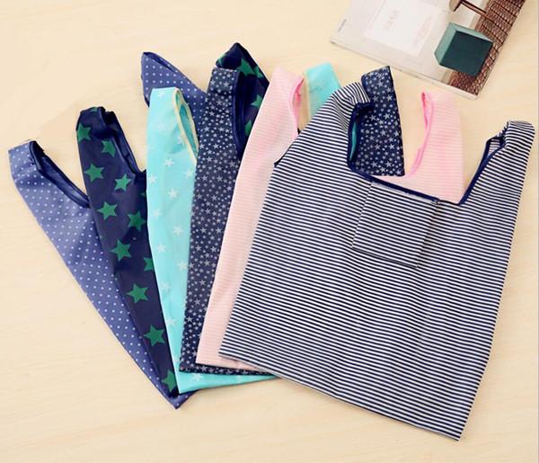 top popular 6styles Foldable Reusable Shopping Bags Eco Storage Grocery bags star stripe Dot printed Shopping Tote Handbag 53*35cm FFA761-1 30pcs 2019