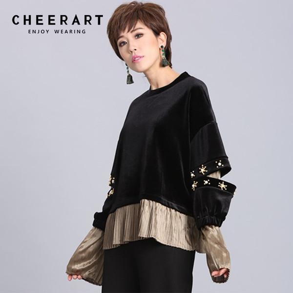 Cheerart Velvet Sweatshirt Frauen Schwarz Beading Oversized Hoodie Pullover Patchwork Lose Trainingsanzug Harajuku Streetwear