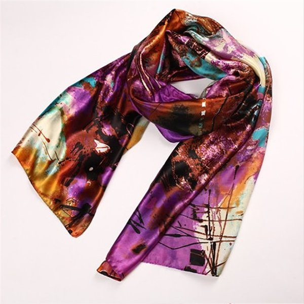 Spring Summer Scarves Wraps Bohemia Oil Painting Style Long Air Conditioner Shawl Woman Lady Beach Silk Scarf Fashion 8 6mr bb