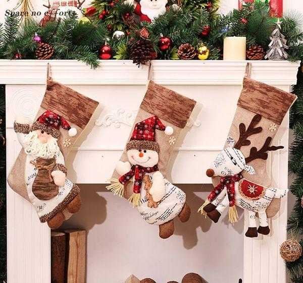 Christmas Stockings New Year Decor Socks Plaid Santa Claus Candy Christmas Gift Bag Xmas Tree Hanging Ornament Enfeites Natal