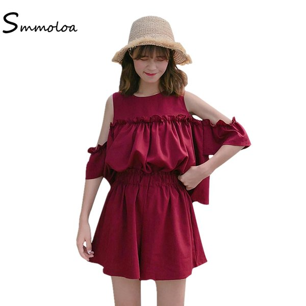 Smmoloa женщины сладкий 2 шт. наборы оборками рубашка + широкие шорты корейские наборы лето Новый