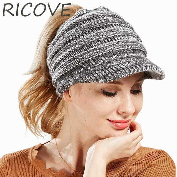 9bb3061e91f0 CC Ponytail Beanie Women Winter Hat With Visor Knitted Woolen Baseball Cap  Messy Bun Caps Fashion