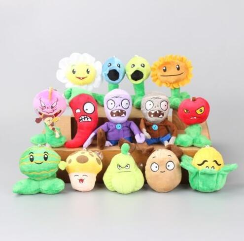 14pieces/lot Plants vs Zombies Collection Plush Toys Soft Stuffed Gift 9-16 CM