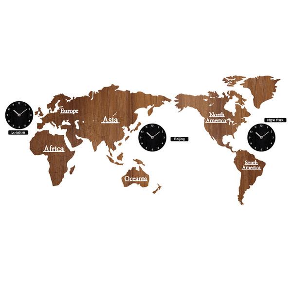 Acheter Créatif En Bois Carte Du Monde Horloge Murale 3d Carte Décoratif Design Home Decor Salon Moderne Style Européen Rond Sourdine Relogio De