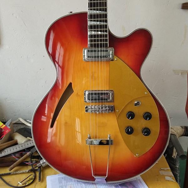 ricken Semi hollow Body Jazz Electric Guitar,Archtop Guitar Sun color Paint,Maple texture,2 Golden Pickguard,free shipping!
