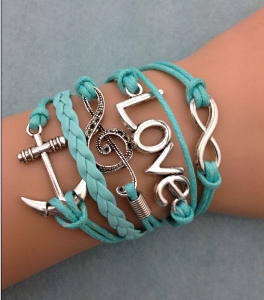 1 unids infinito pulsera hecha a mano. Encanto de metal, cordón de cera, pulsera de cuero jewerlly pulsera 3077
