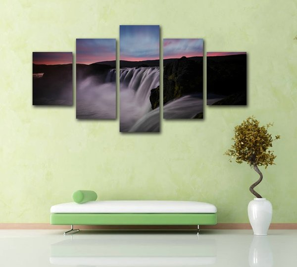 2019 No Frame 5 Panels Attractive Waterfall Landscape Canavs Painting For Home Decoration Living Room Wall Art Poster And Prints From Samwu333 2512