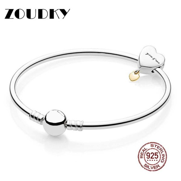 ZOUDKY Book Di 925 Sterling silver You and Me Bangle Gift Set Clear CZ fit DIY Original charm Bracelets jewelry A set of prices