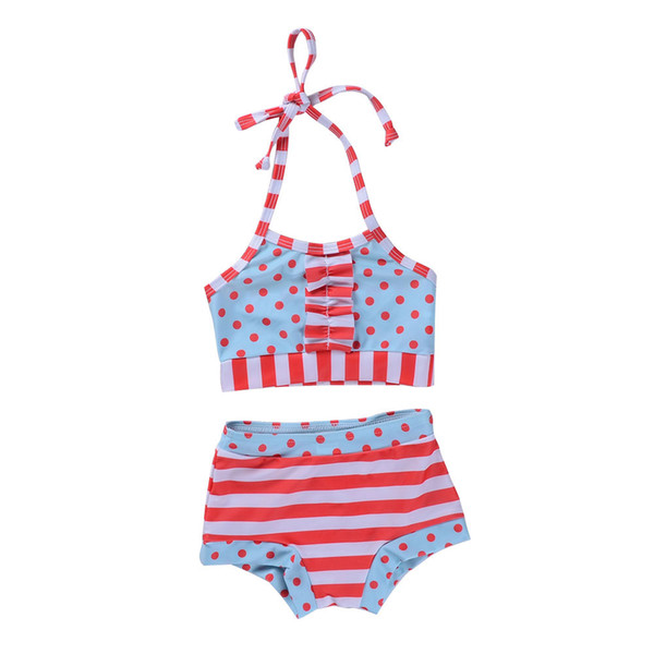 3563e938bb10 Summer Cute Two-Pieces Swimsuit Kids Baby Girls Dots Striped Swimswear  Children Split Bathing Suit Girls Bikini Lovely Children Bikinis 1-6Y