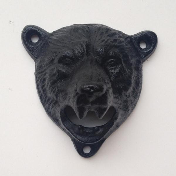 10pcs cast iron bear shaped hang wall mounted bottle opener free shipping