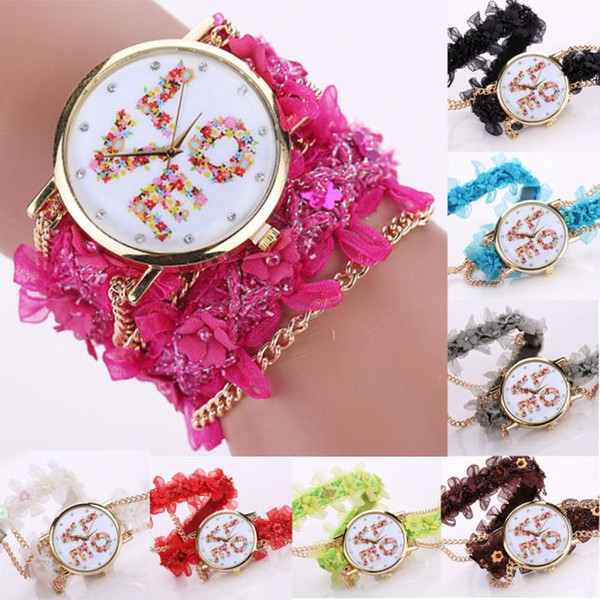 Happy Valentine's Day Vintage Fashion Casual Clock For Women Lace Wrap Around Bracelet Crystal Synthetic Chain Quartz Analog Wrist Watch