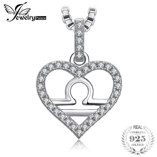 SchmuckPalace Sternzeichen Konstellation Waage Herz Liebe Zirkonia Anhänger Halskette 925 Sterling Silber 45 cm Box Kette