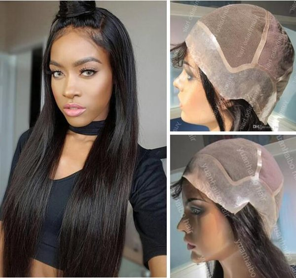 Full Lace with PU around Wigs Burmese Human Hair Straight Hair Full Lace with Thin Skin Perimeter Wig for Black Woman Free Shipping