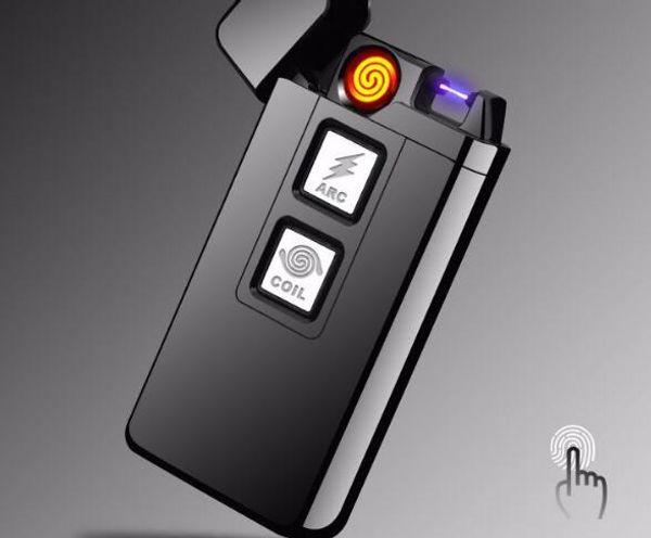 Fingerprint Touch doble encendedor de arco eléctrico más ligero encendedor