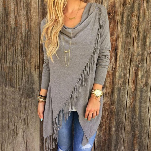 Wholesale Women Autumn Spring Sweater Asymmetric Tops Loose Tassel Sweater Long Sleeve Cowl Neck Black Gray White