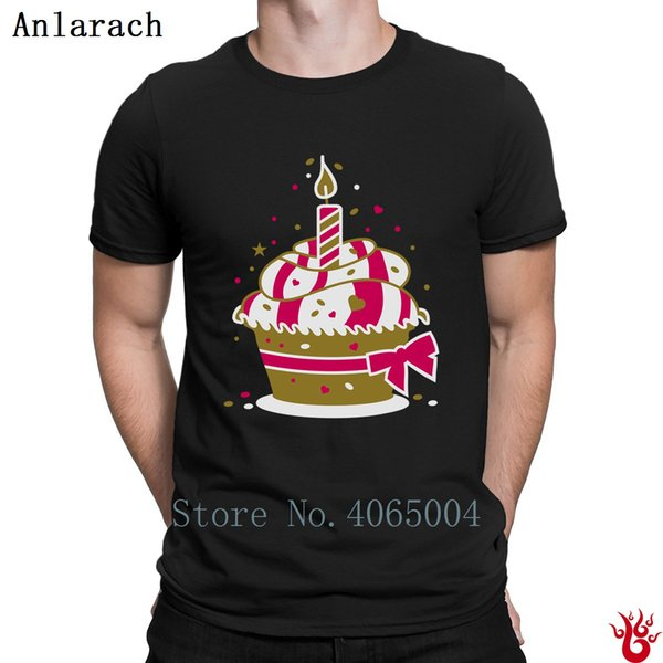 Small Birthday Cake With A Candle Tshirts Interesting Original Men's T Shirt Summer HipHop Tops New Style Short Sleeve Family
