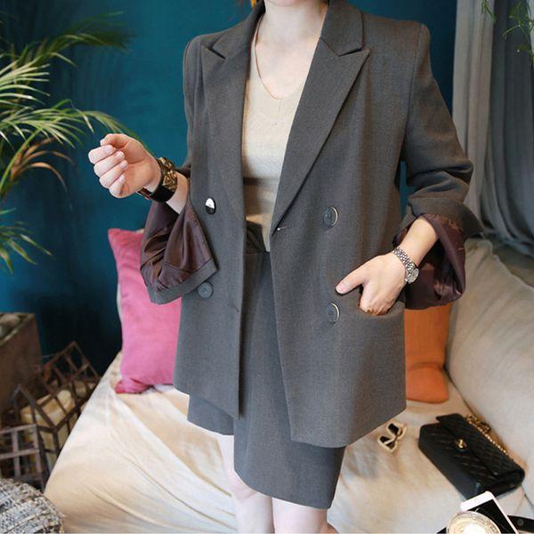 Hot new moda feminina ternos slim desgaste do trabalho do escritório senhoras manga longa saia blazer ternos trajes para as mulheres com saia